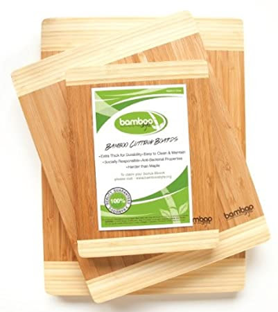 Bamboo Style's® Premium 3 Piece Bamboo Cutting Board Set. Made to Last, Durable, High Quality Kitchen Cutting Boards. Eco-Friendly, Bamboo Wooden Chopping Boards, Stronger than Maple! Perfect Kitchen Accessories. Meat, Bread, Vegetable, Cheese Cutting Boards.