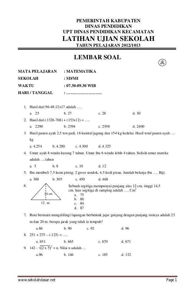 Latihan soal ujian nasional matematika sd