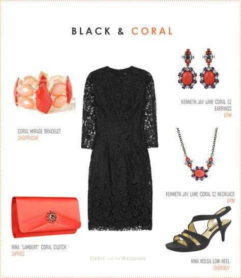 Little Black Dress with Coral Accessories