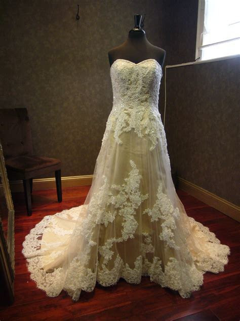 Champagne Wedding Dress With Ivory Lace By