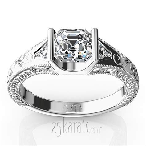 Tension Set Antique Design Engagement Ring (0.03ct. tw.)