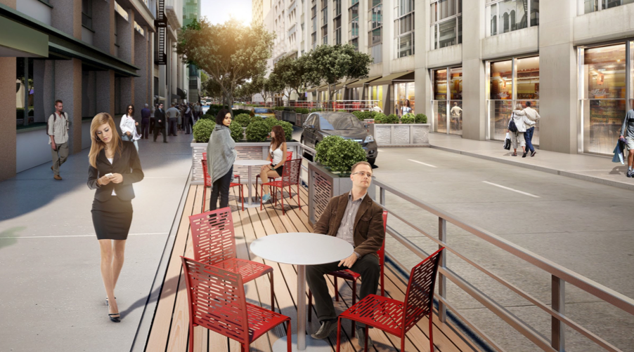 While Vision42 might not happen soon, Boulevard 41 is more likely. The plan from the Bryant Park Corporation has approvals in hand but needs funding from adjacent property owners. Image: Bryant Park Corporation [PDF]