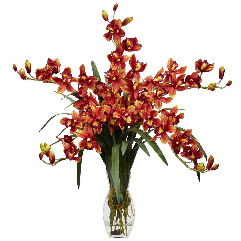 Cymbidium Orchid Silk Flower Arrangement  1184