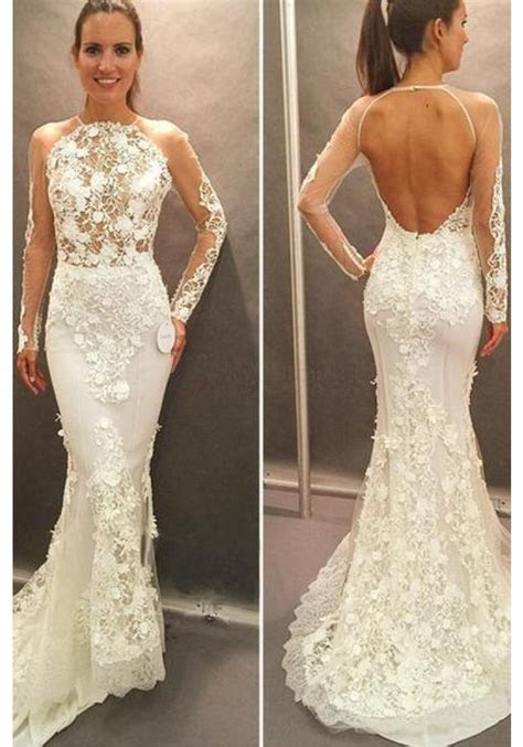 Long Sleeves Lace Wedding Dress Open Back Court Train