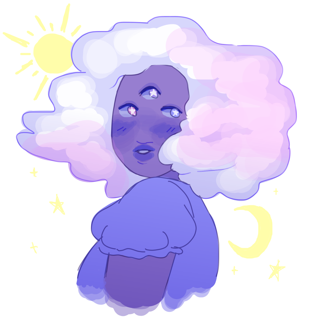 """""""slimey-tiddly asked: For the brush thing…..Cloud and first time fusion garnet……. """" my longest yea boy ever"""