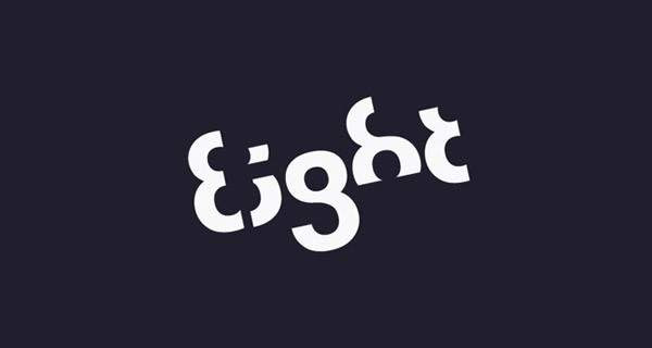 """La palabra """"eight"""" (ocho) hecha de ochos."""