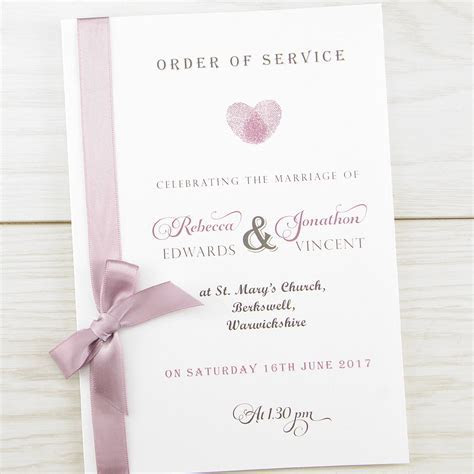 Thumb Print Order of Service   Pure Invitation Wedding Invites