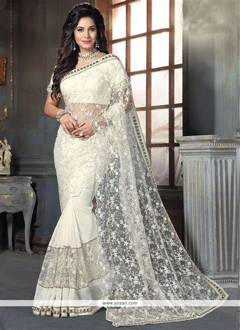 Buy Lavish Georgette Off White Traditional Designer Sarees