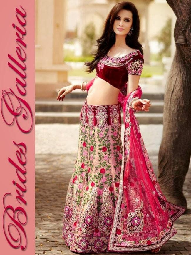 Indian-Bridal-Wedding-Lehangas-Velvet-Embroidered-Blouse-Fish-Cut-Lehenga-by-Brides-Galleria-2