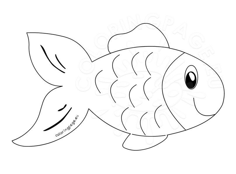 Fish clip art outline - Coloring Page