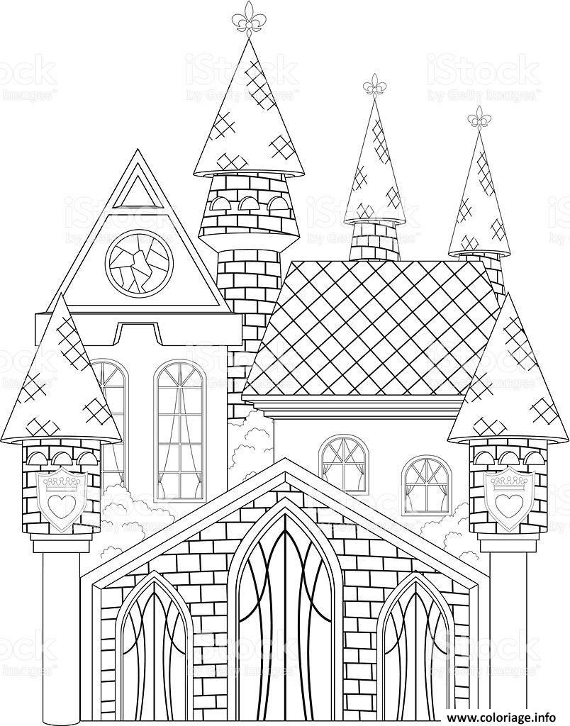 Coloriage Chateau De Princesse Dessin  Imprimer