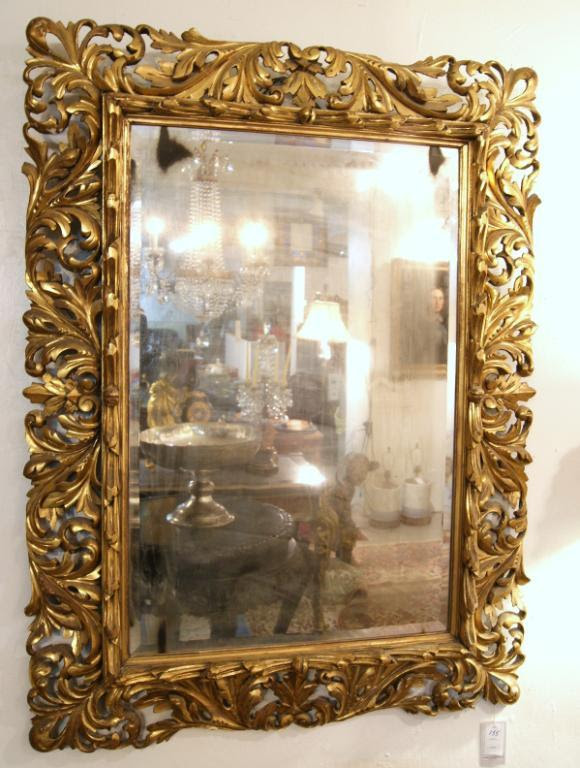 Antique Italian Carved Gilded Mirror With Antique Beveled Glass 47 X