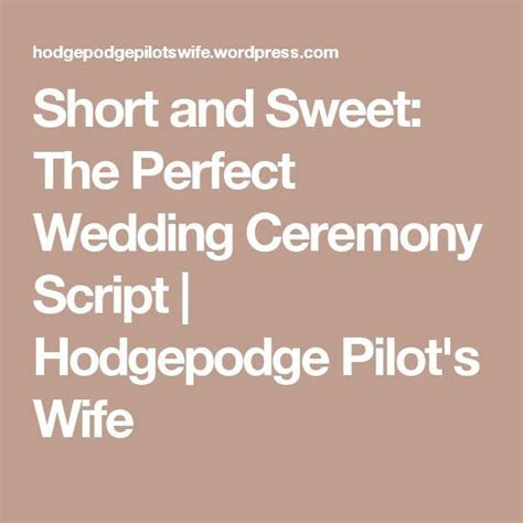 Short and Sweet: The Perfect Wedding Ceremony Script