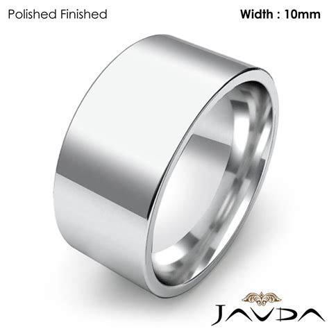Comfort Flat Pipe Cut Ring Mens Wedding Band 10mm 14k