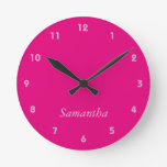 Girly Hot Pink On Pink Round Wallclock