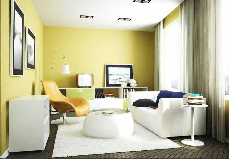 Perpaduan warna cat rumah bagian dalam kuning Desain