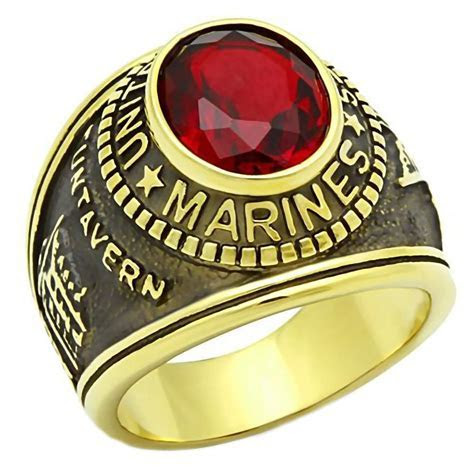 Marines G: Mens US Marine Corps 316L Steel Ring and IP 14K