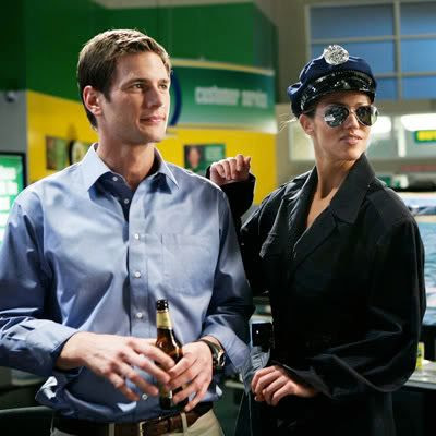 w/ 'Captain Awesome' on Chuck in police stripper attire for bachelor party [click for more]