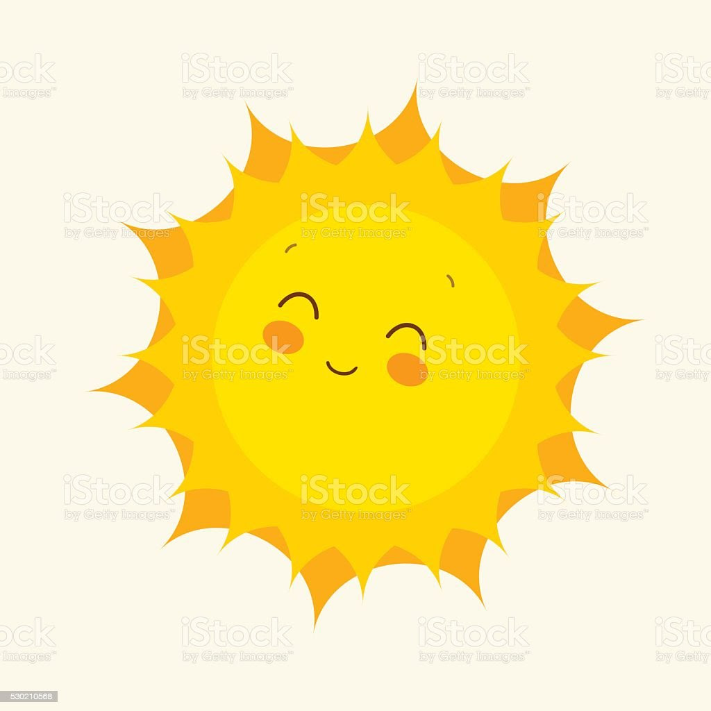 Happy Sun Icon Vector Illustration stock vector art