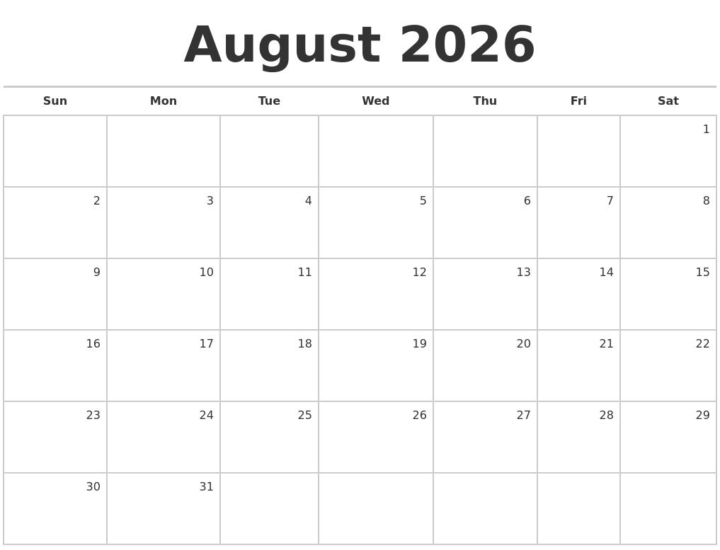 august 2026 blank monthly calendar