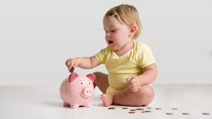 Image result for baby and piggy bank