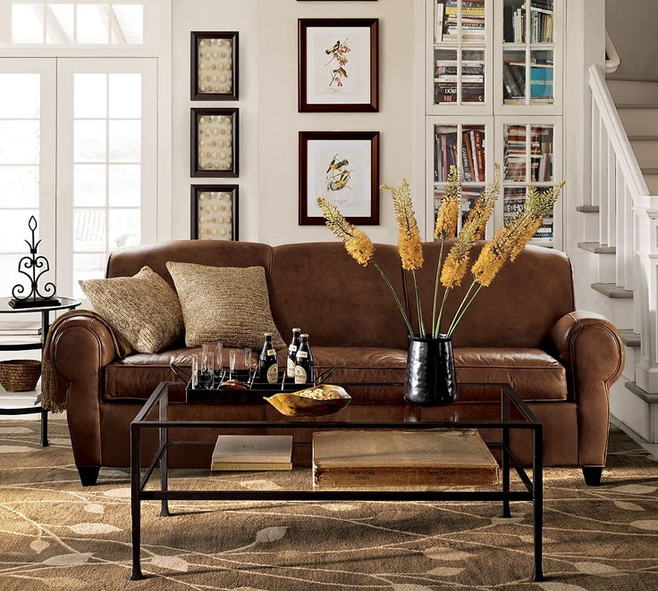 Pottery Barn Manhattan Leather 3-Piece L-Shaped Sectional wi ...