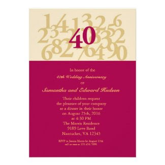 40th Ruby Wedding Anniversary Invitation