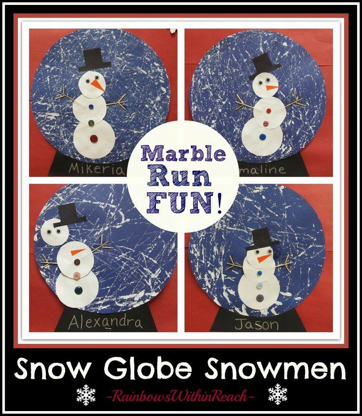 Winter Art Project: Snowman in a Snow Globe via RainbowsWithinReach