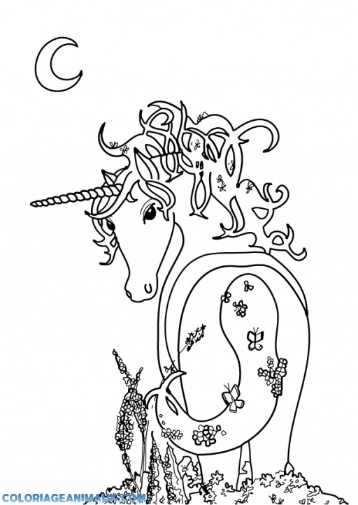 coloriage licorne qui attend la princesse