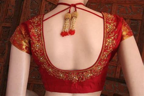 Top bead work blouse designs for wedding, braid of saree