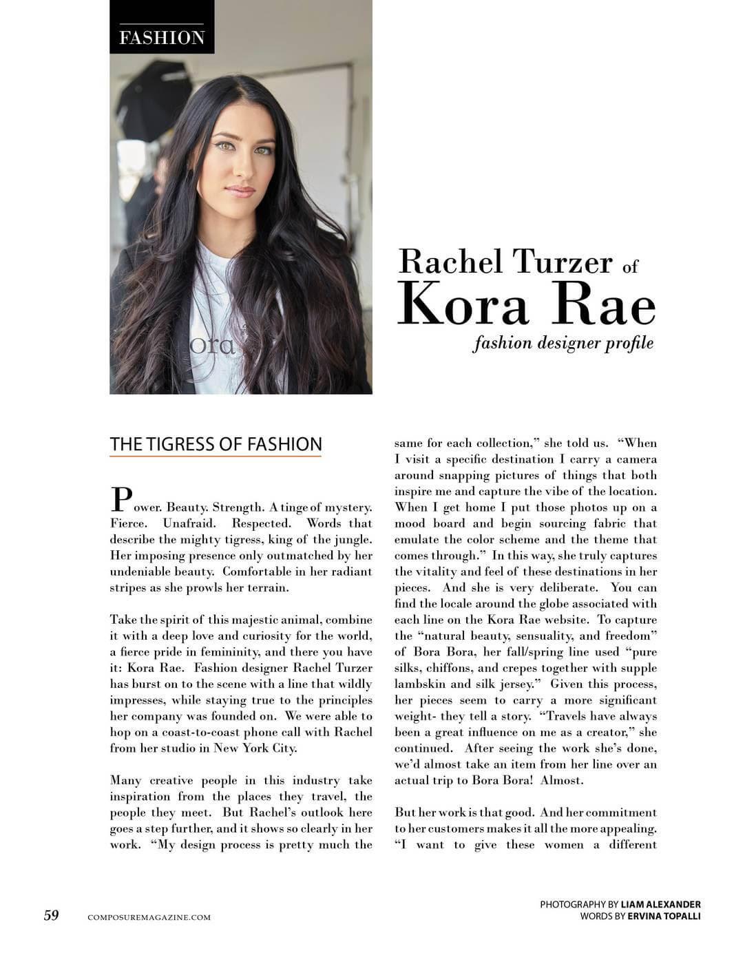 Fashion Designer Profile Rachel Turzer Of Kora Rae Composure Magazine