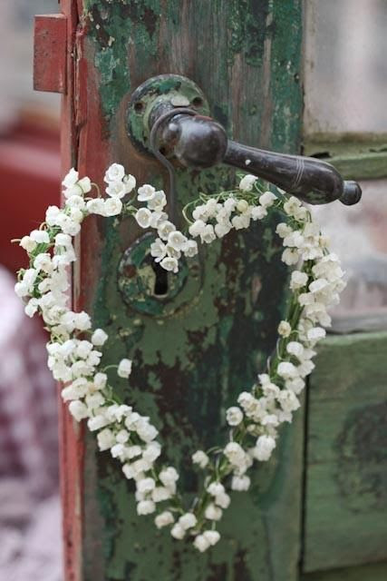 heart wreath made from Lily of the Valley...