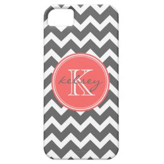 Charcoal Gray and Coral Chevron Custom Monogram iPhone 5 Cases
