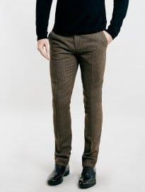 Topman Brown Textured Skinny Fit Suit Trousers