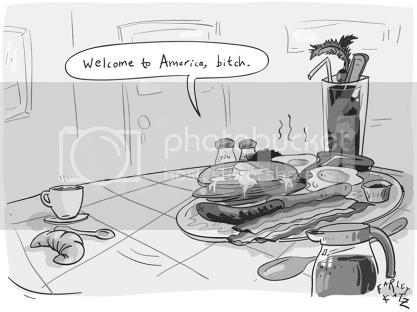 Cartoon of a Grand Slam of a breakfast saying to a continental breakfast,