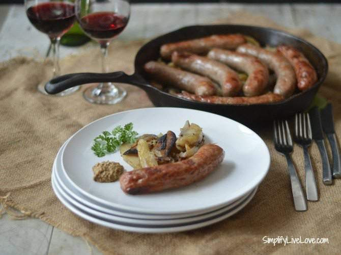 Easy, One Skillet Oven Meal ~ Potatoes & Beer Brats ...