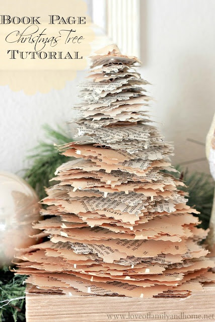Love Of Family & Home: Book Page Christmas Trees {Tutorial}