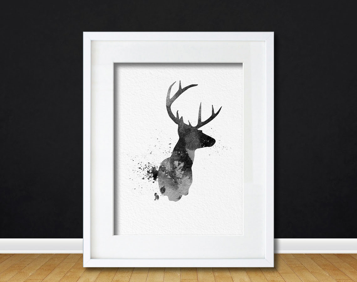 Watercolor Art Buck Deer Gift Modern 8x10 Wall Art Decor Buck Deer