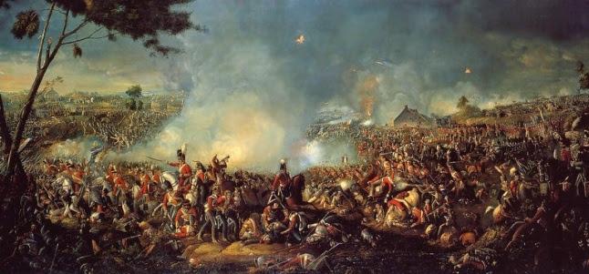 Gambar 3. Pertempuran Waterloo dalam lukisan William Sadler. Kekalahan Perancis dalam perang besar ini mengubah geopolitik Eropa dan berpengaruh global, termasuk memicu Perang Diponegoro.
