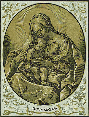 Madonna and child, chiaroscuro woodcut, by Bar...