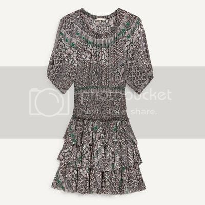 ROMEA Printed voile dress with smocking