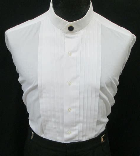 White Banded Nehru Mandarin Collar Pleated Front Tuxedo