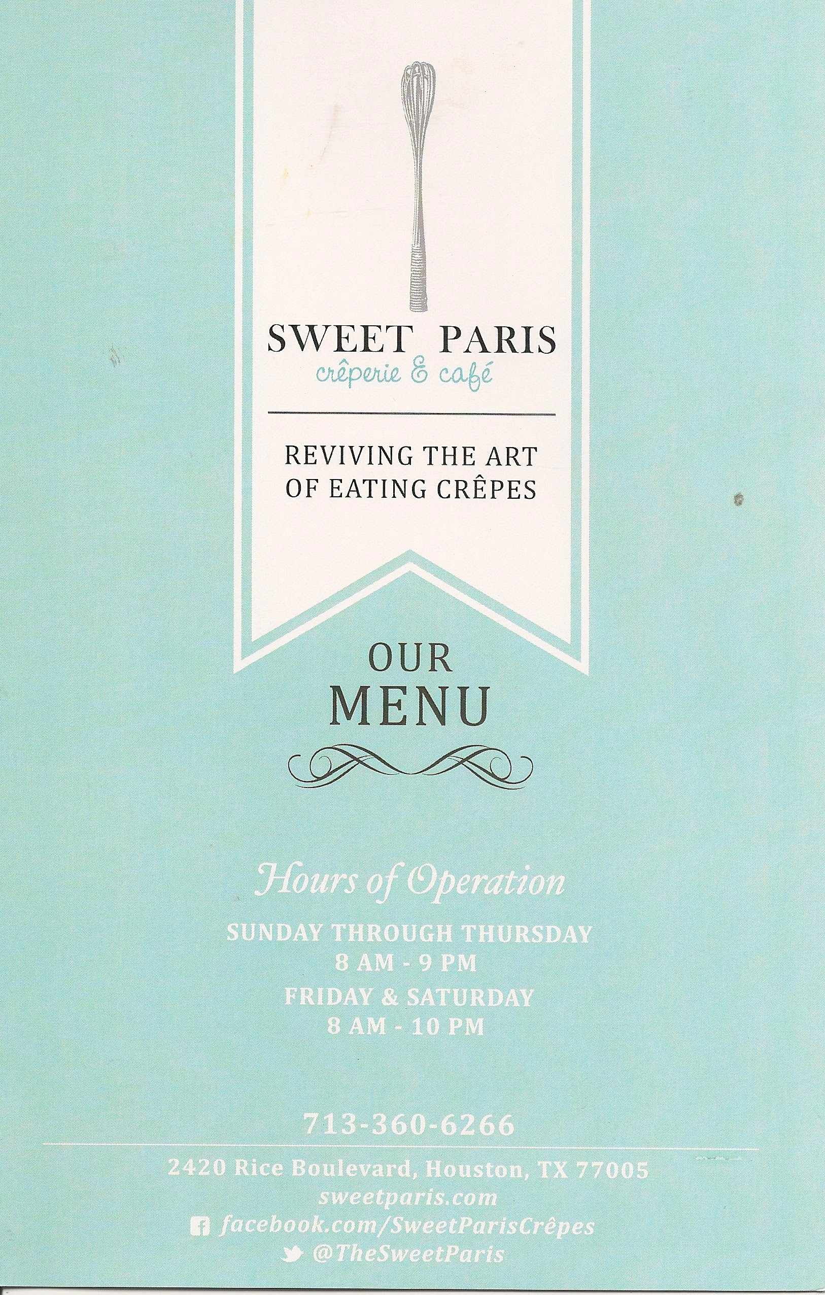 Sweet Paris Menu