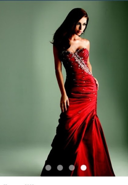 Red glitter evening dress