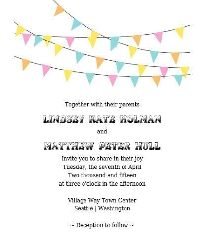 Bunting Banner Invitation & RSVP   Free Printable