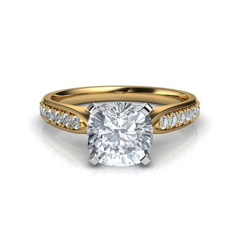 Tapered Cathedral Cushion Cut Diamond Engagement Ring