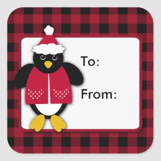 Christmas Penguin Square Stickers