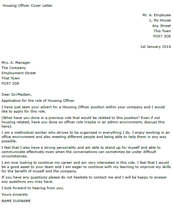 Housing Officer Cover Letter Example Learnist Org