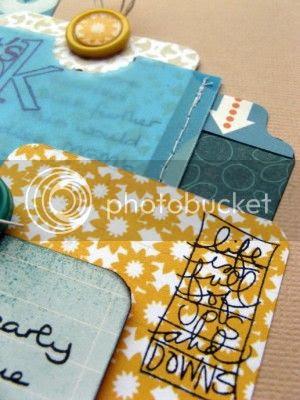 Layout detail - layered tags, vellum envelope and stamping - Jimjams
