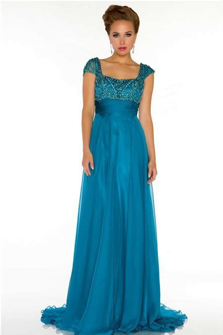 Modest A Line Cap Sleeve Long Turquoise Blue Chiffon